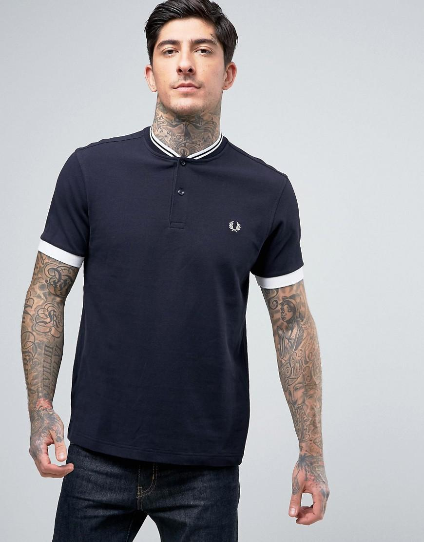 Lyst - Fred Perry Pique Tipped Grandad T-shirt In Navy in ...