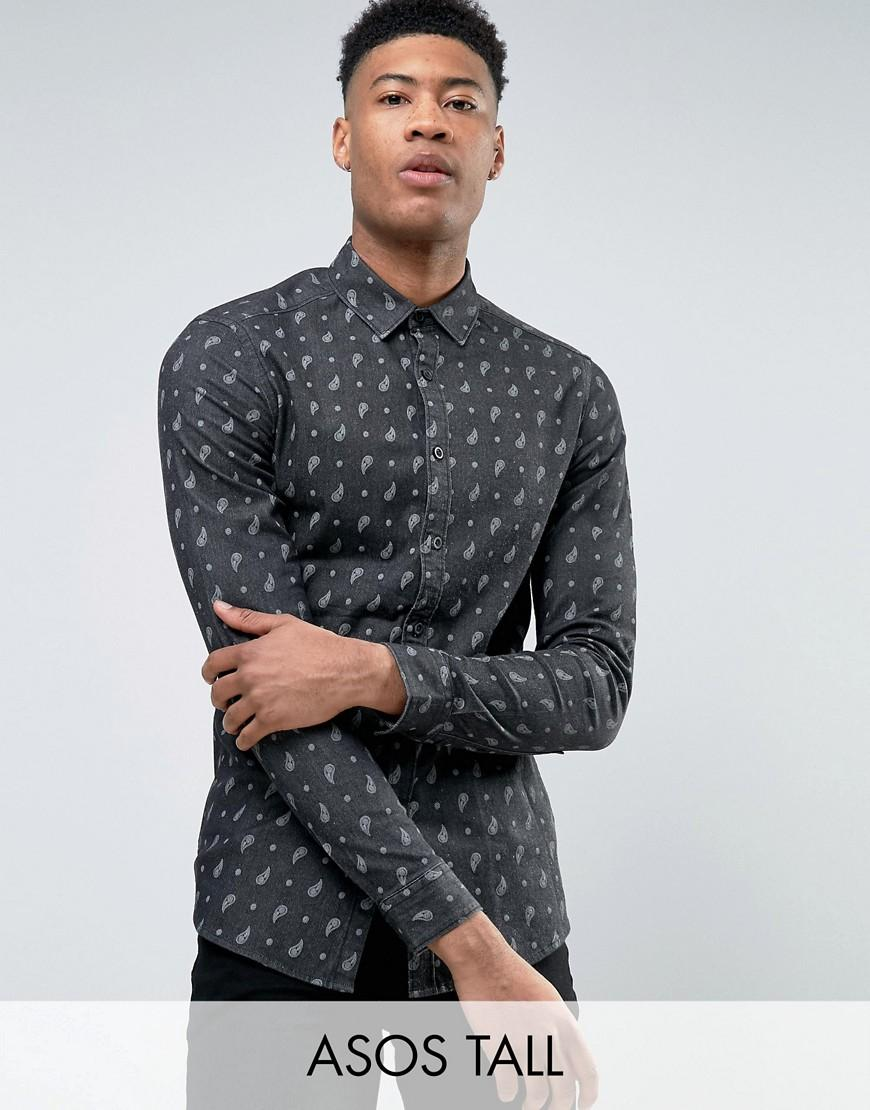 Lyst asos tall skinny denim shirt with paisley print in for Mens tall denim shirt