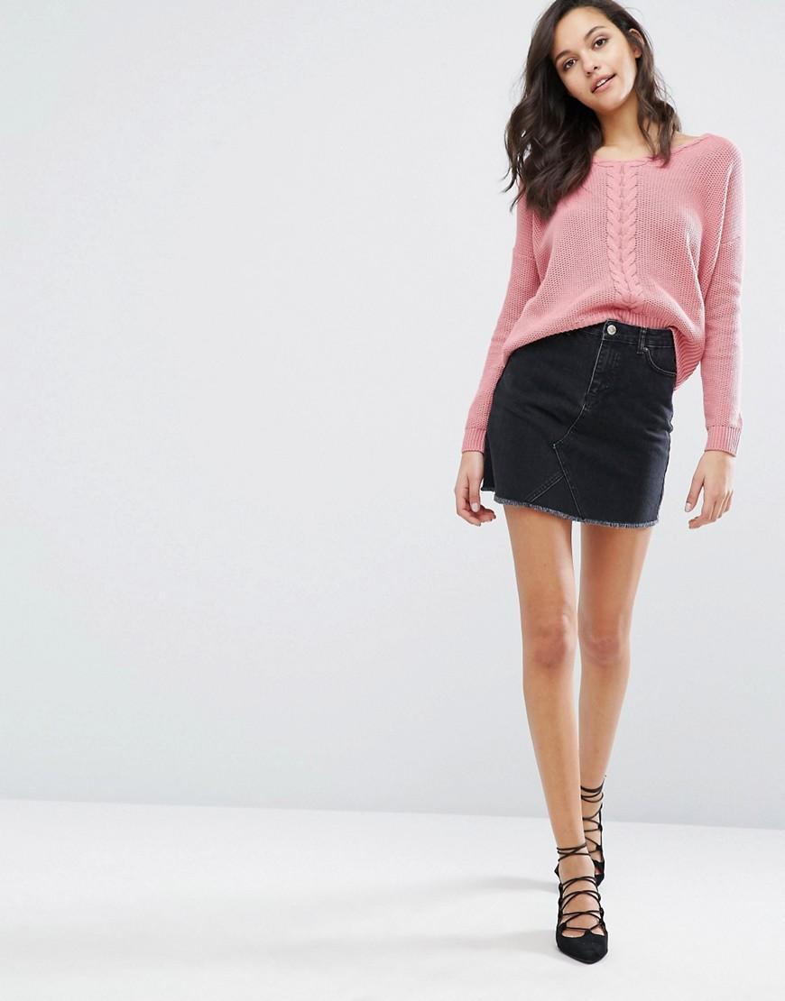 miss selfridge mini denim skirt in black lyst