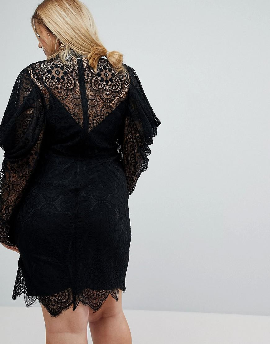 Lace Drape Sleeve Mini Dress - Black Asos Official Site For Sale Clearance Fashionable Sale Exclusive h70E2