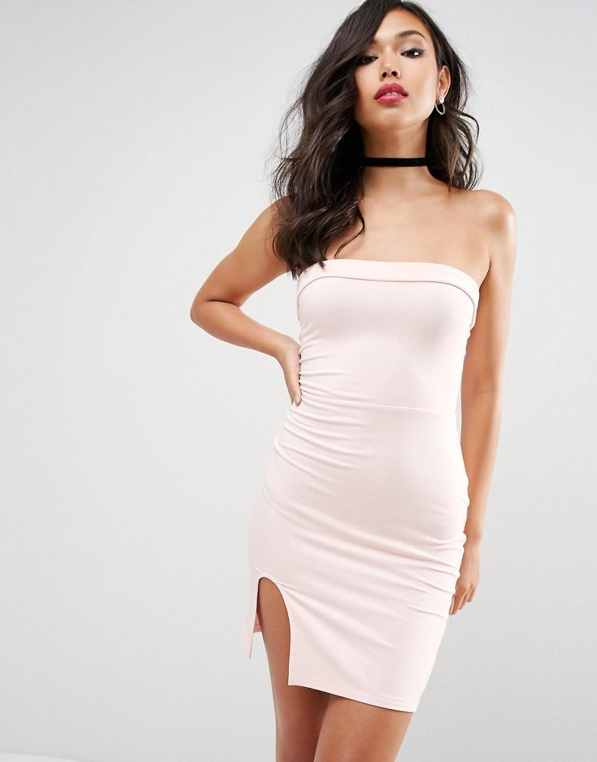 Asos Strapless Mini Bodycon Dress With Curved Splits in ...