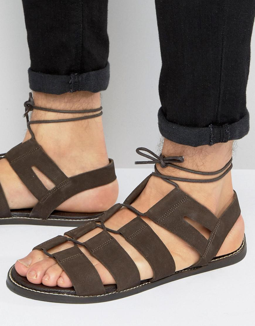 3506d1ef1990 Asos Gladiator Sandals In Brown Suede With Tie Lace in Brown for Men ...