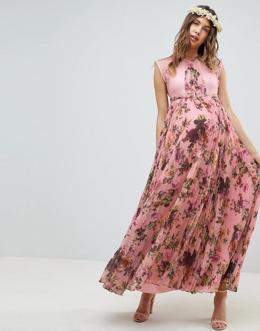 2cf8bbff2d3 ASOS. Women s Asos Design Maternity Pleated Short Sleeve Maxi Dress In Pink Floral  Print