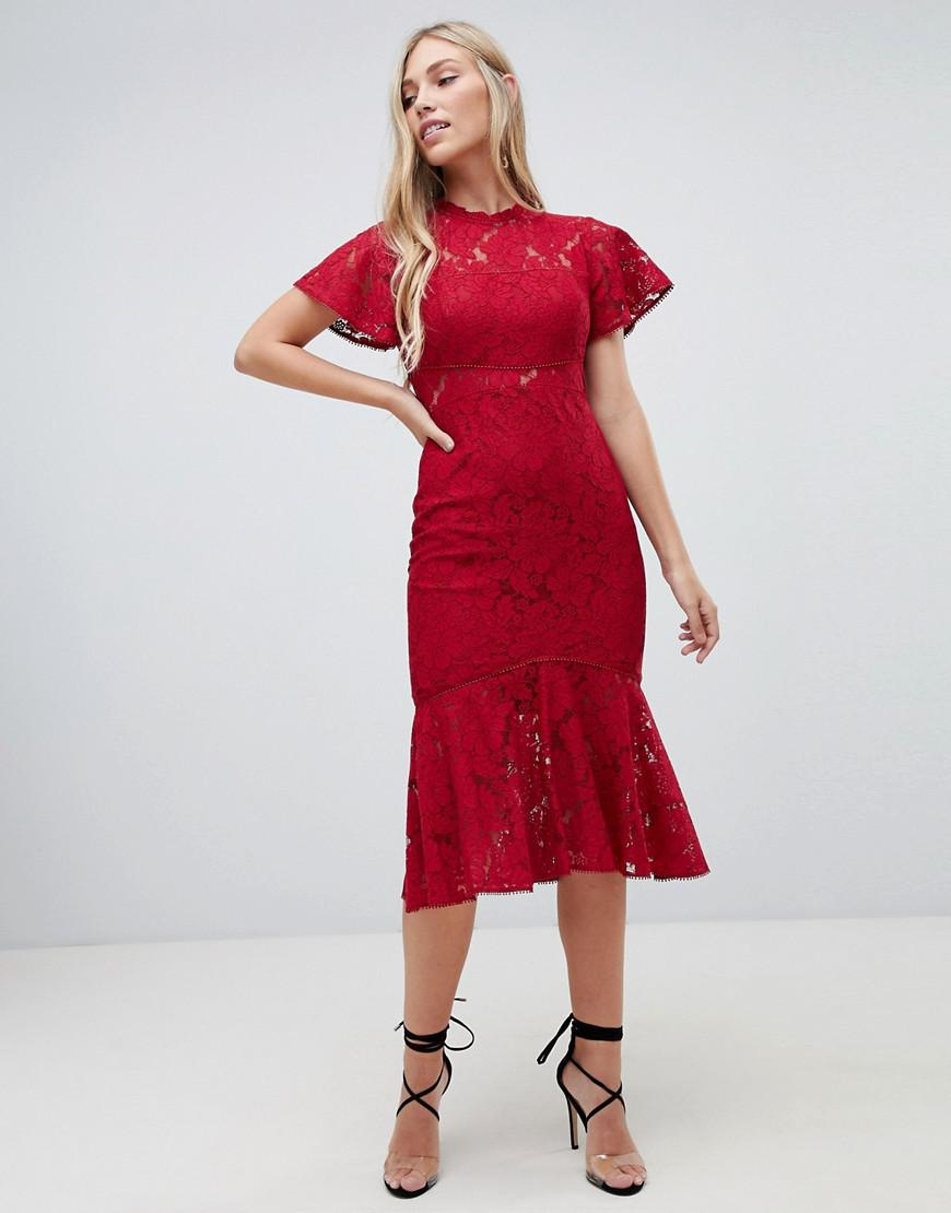 068685a98fa69 Forever New Midi Lace Dress With Frill Sleeve In Berry in Red - Lyst