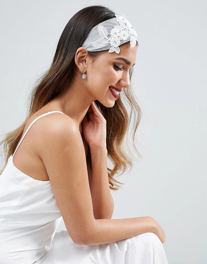 Asos Wedding Sheer Flower Headband in White