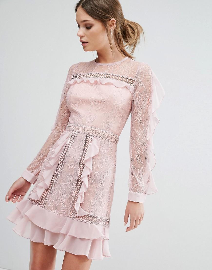 True Decadence Ruffle Sleeve Mini Dress With Sheer Panels