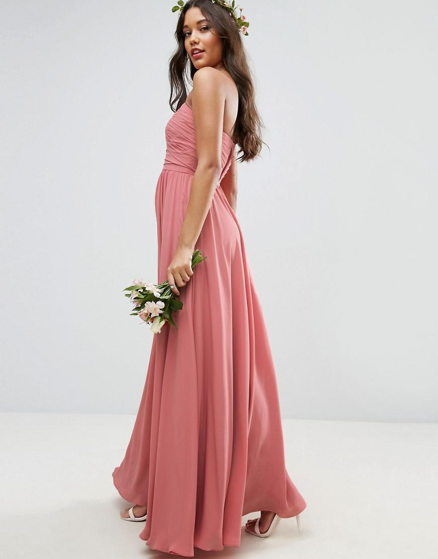 175aec36d3b ASOS Bridesmaid Bow Front Bandeau Maxi Dress in Natural - Lyst