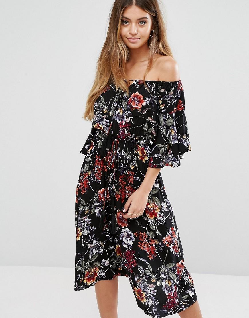 be4b00efffe13 Black Floral Print Bardot Layer Midi Dress