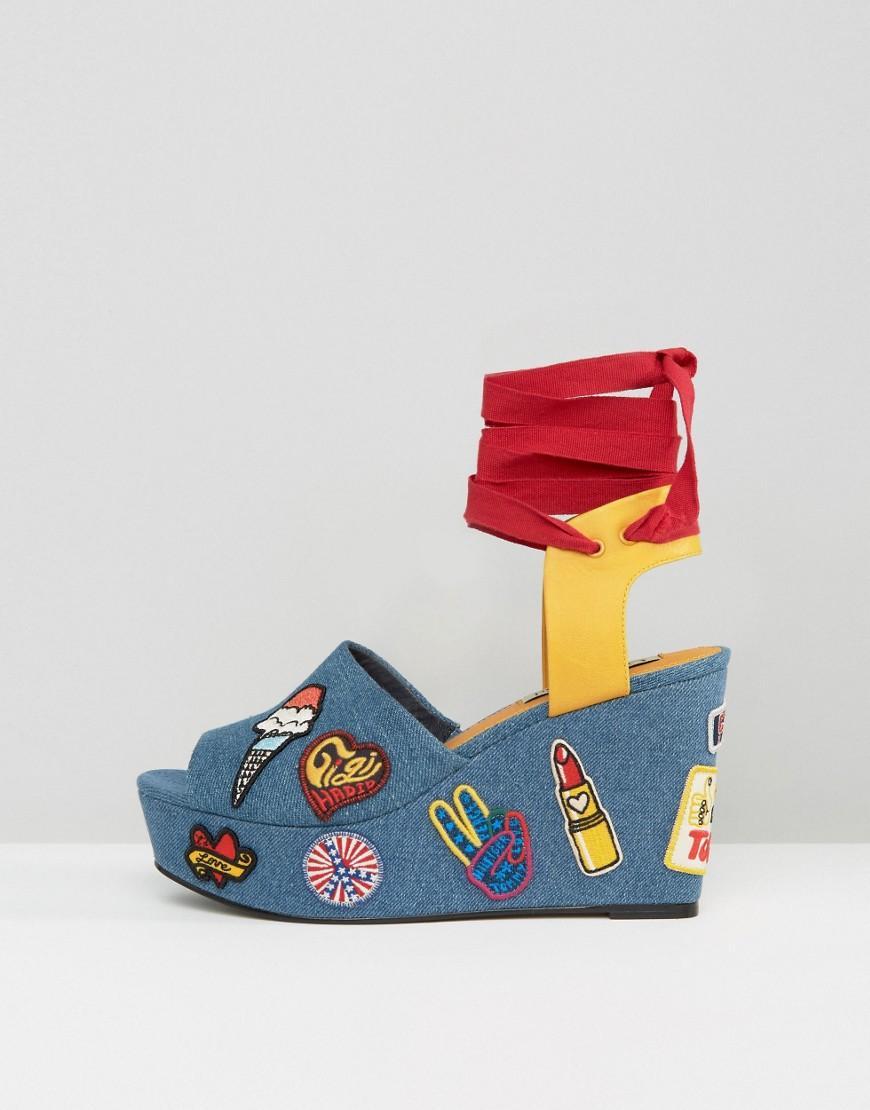 lyst tommy hilfiger gigi hadid denim patch wedge sandals in blue