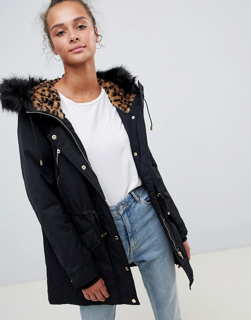 1063f9f8eab0 ONLY Leonora Longline Parka Coat With Faux Fur Trim in Black - Lyst