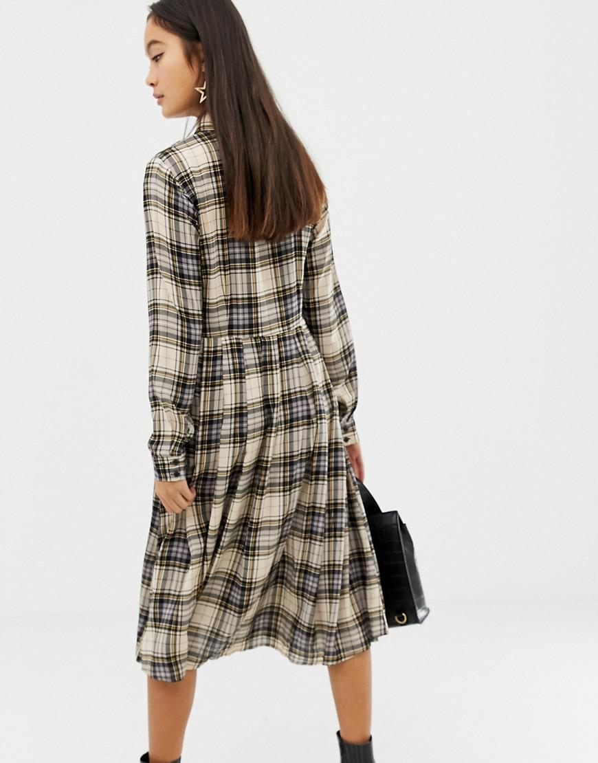 05ca452c5b9 Glamorous Midi Shirt Dress In Check in Black - Lyst