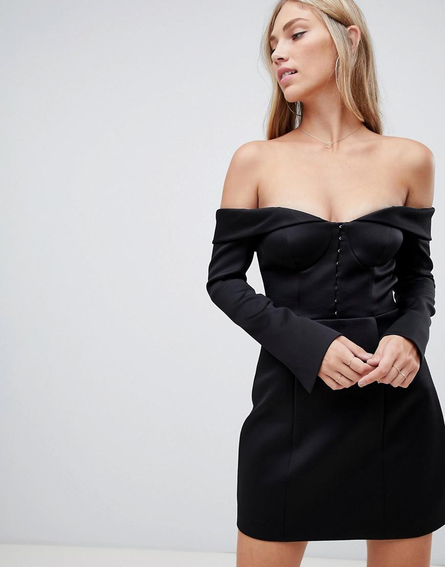 815108b4e090 Forever New Structured Bardot Bodycon Mini Dress In Black in Black - Lyst