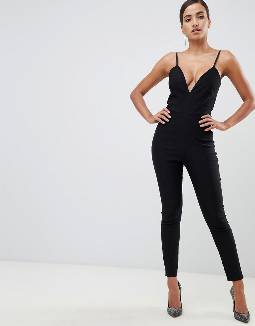 fb564823f80 Vesper - Plunge Front Fitted Jumpsuit In Black - Lyst. View fullscreen
