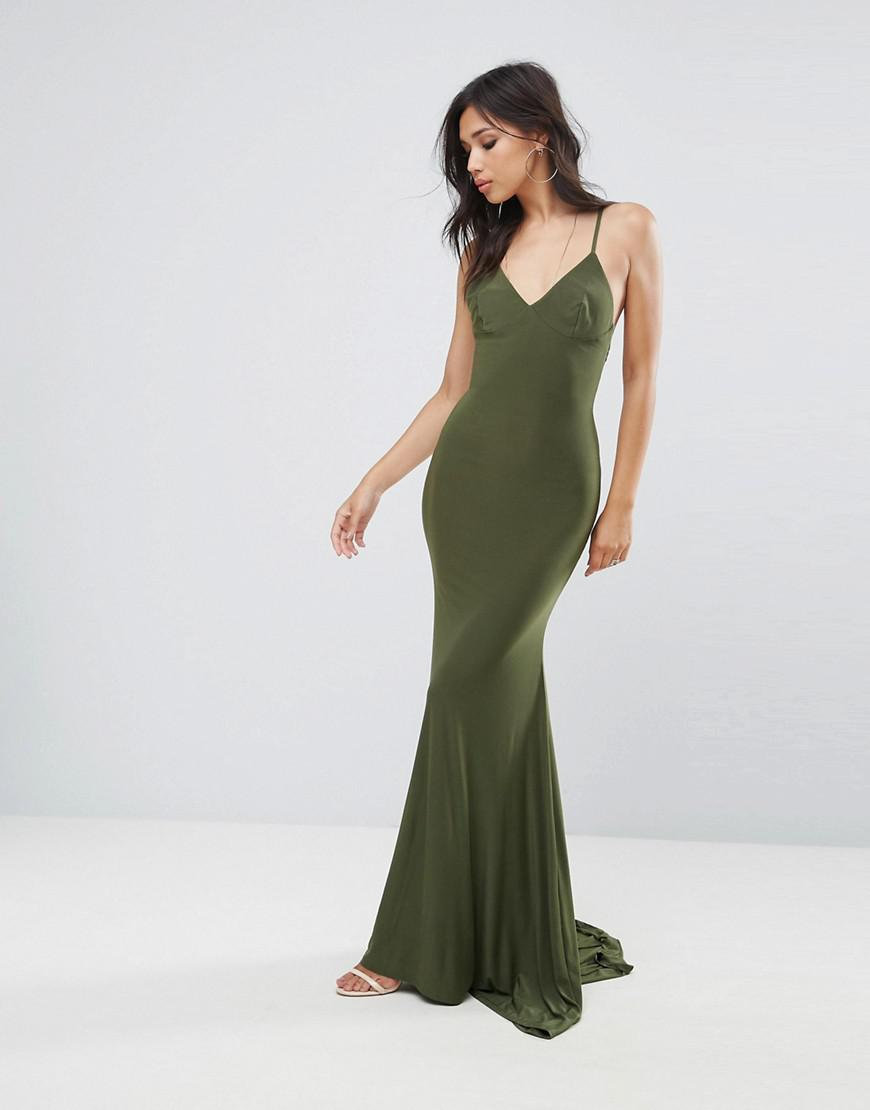 9d71577c87a Lyst - Club L Strappy Back Maxi Dress With Fishtail in Green
