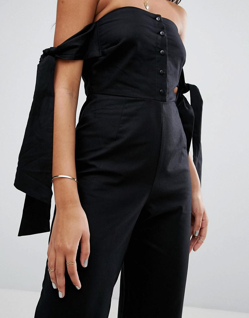 Off Shoulder Jumpsuit with Tie Sleeve Detail - Black Asos Professional ZcoygGV