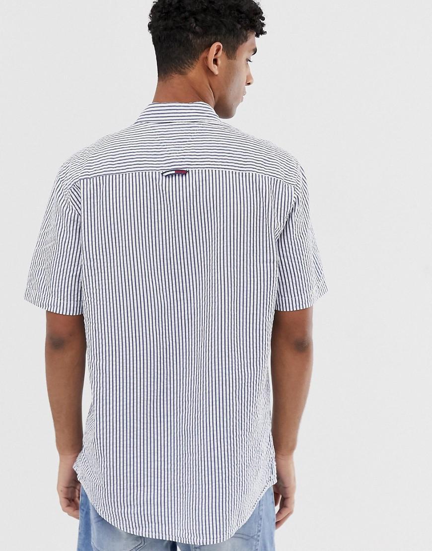 2d51f31b Tommy Hilfiger Short Sleeve Seersucker Shirt With Pocket Pique Flag Logo In  Blue in Blue for Men - Lyst