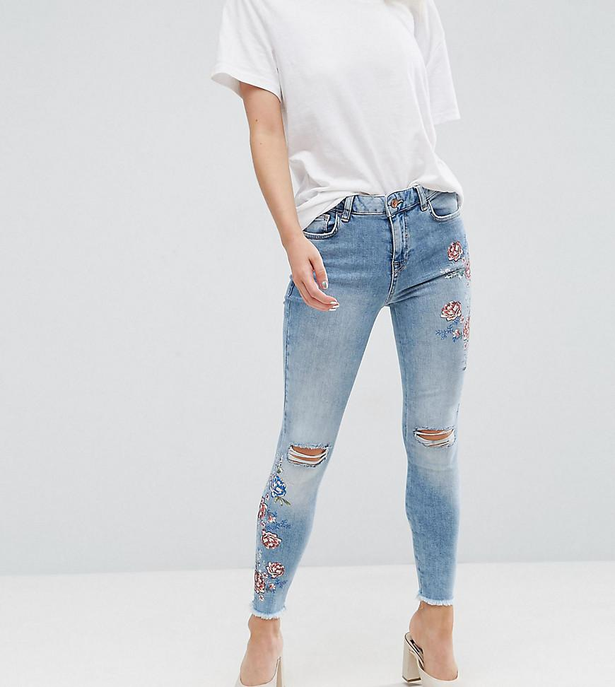 Lyst new look embroidered skinny jeans in blue