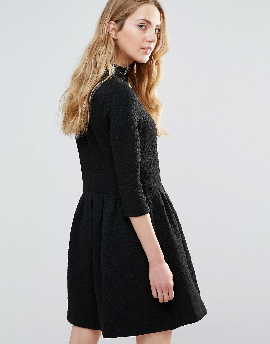 c17aaee5 Ganni Perry High Neck Textured Skater Dress in Black - Lyst