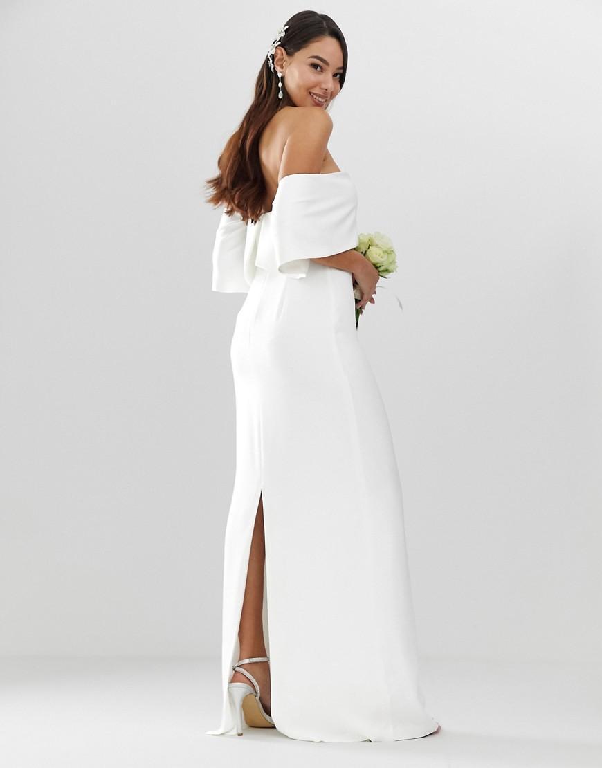 a6dba7a9a7168 ASOS Crepe Off Shoulder Wedding Column Dress in White - Lyst