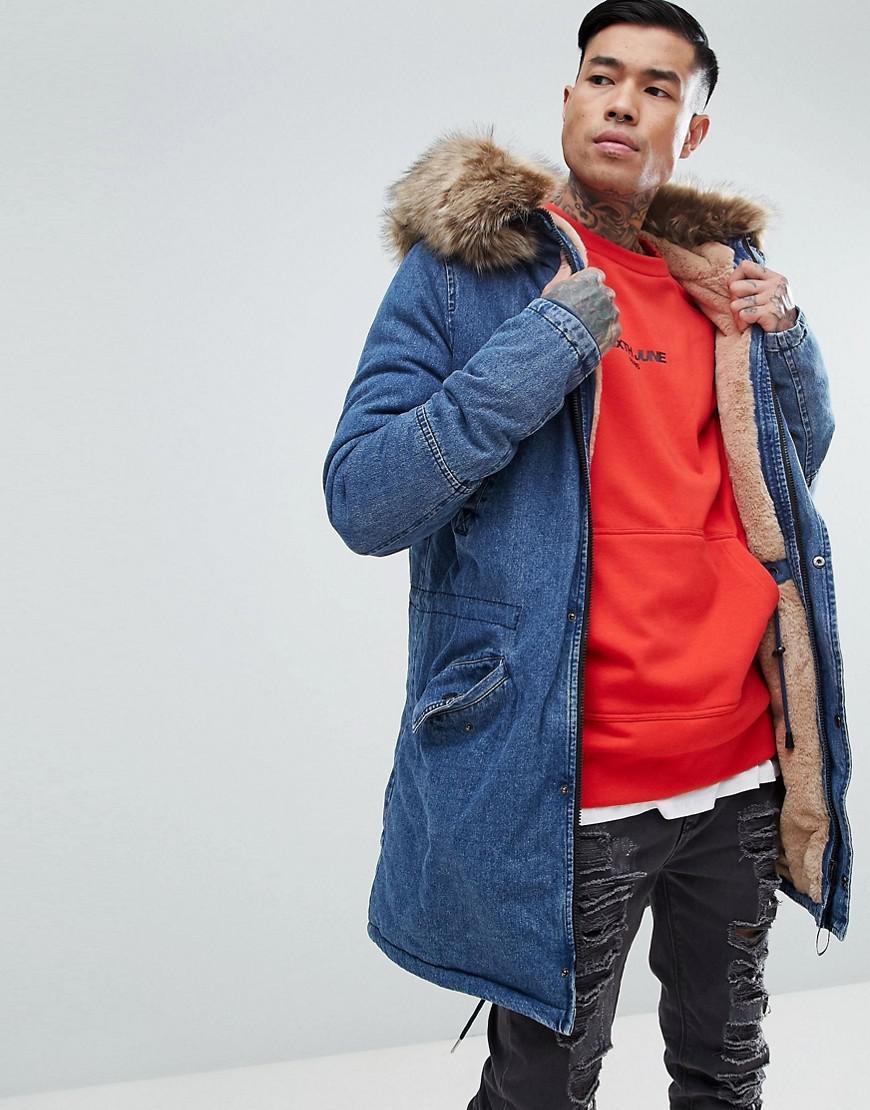 8ecefa1d45421 Lyst - Sixth June Denim Parka Jacket With Oversized Faux Fur Hood in ...