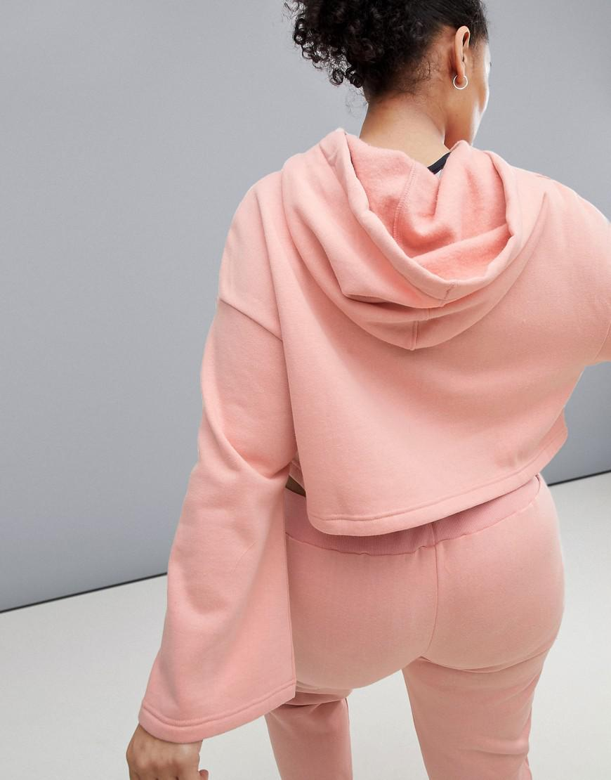 0f038613a8e South Beach - Pink Plus Bell Sleeve Crop Hoodie In Blush - Lyst. View  fullscreen