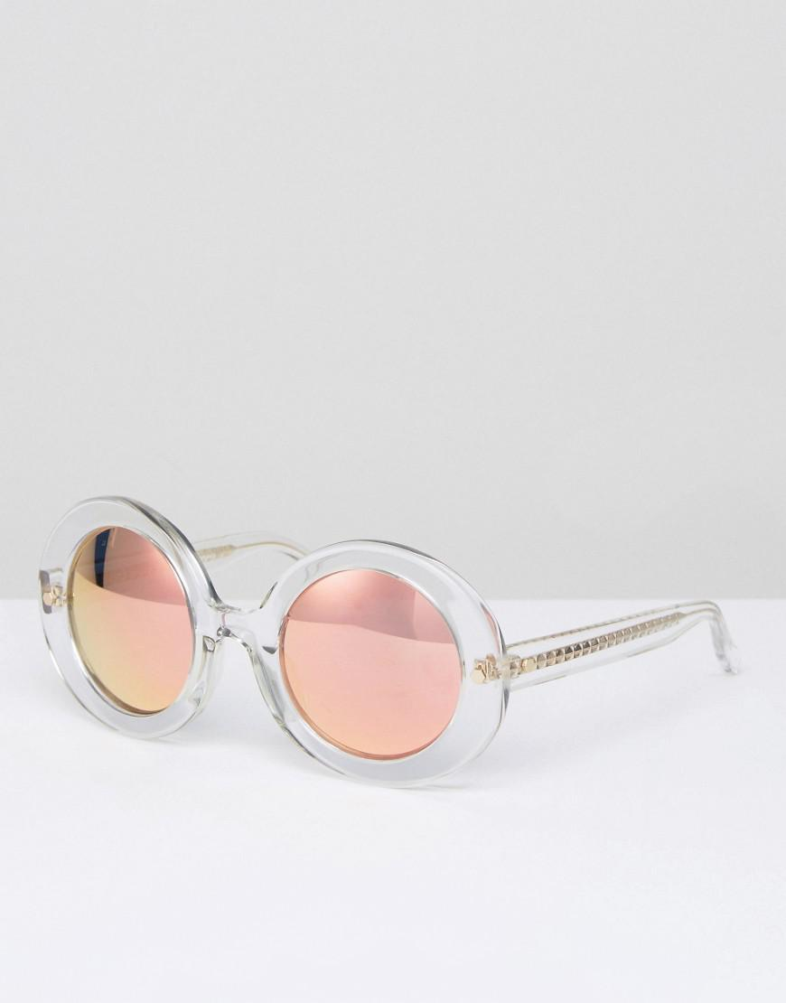 Lyst - Matthew Williamson Clear Frame Round Sunglasses With Peach ...