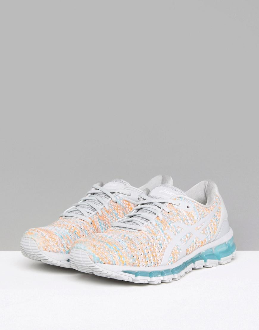 quality design a5dd9 cfad5 Asics Running Gel Quantum 360 Knit Trainers In Grey And Orange in ...