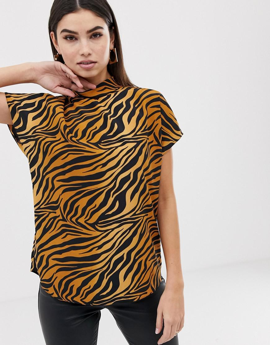 ac4d0d1e992 ASOS. Women's Short Sleeve High Neck Top In Tiger Animal Print