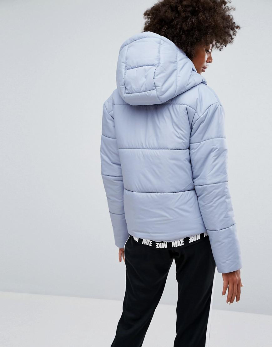 ca0062e4008c Nike Short Padded Jacket With Branded Waistband in Gray - Lyst