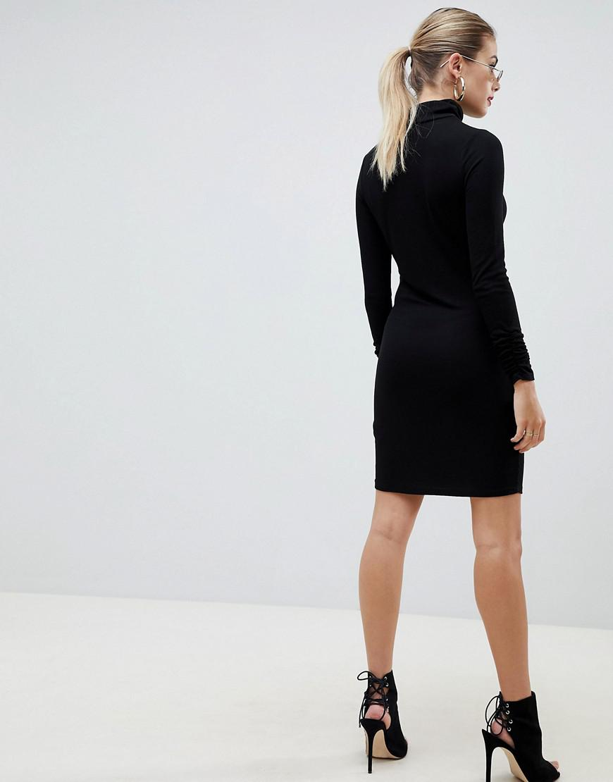 3dc35d1b4c4 Lyst - ASOS High Neck Rib Bodycon Mini Dress With Long Sleeves in Black