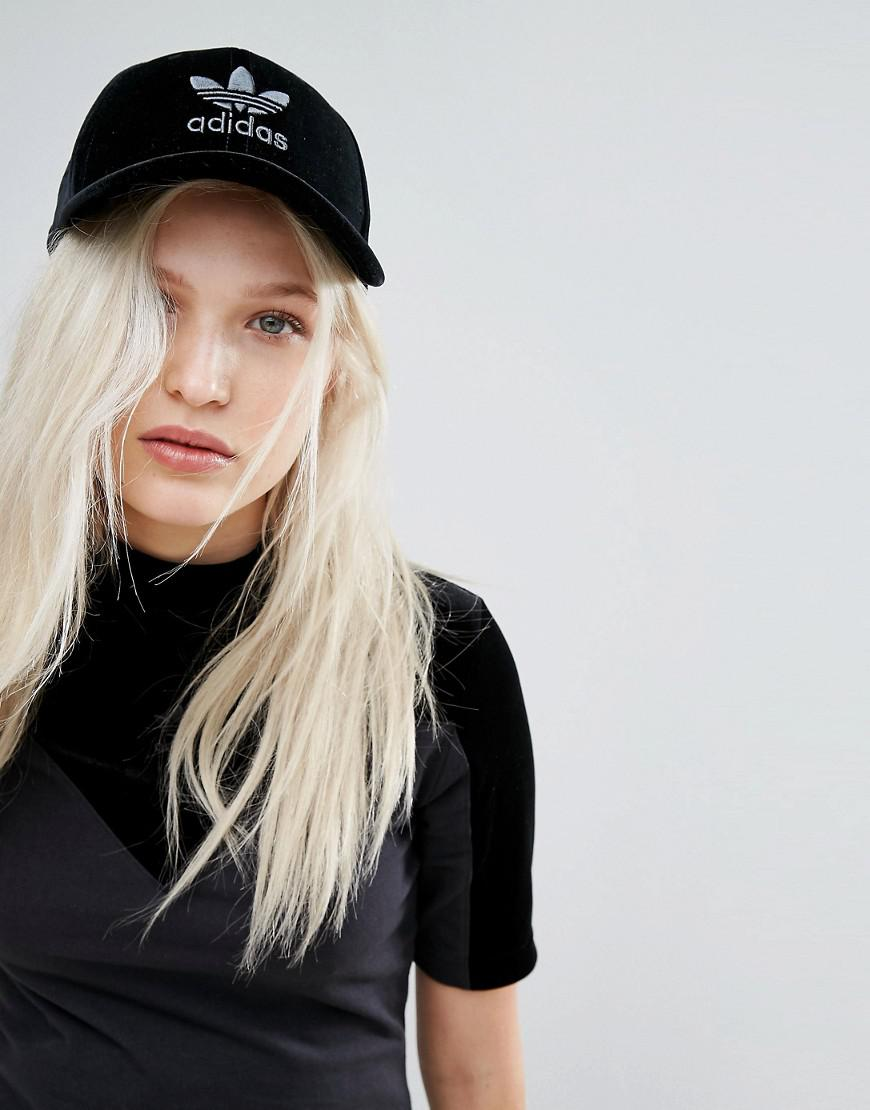 e0e9af25a0eab adidas Originals Originals Velvet Vibes Trefoil Cap in Black - Lyst