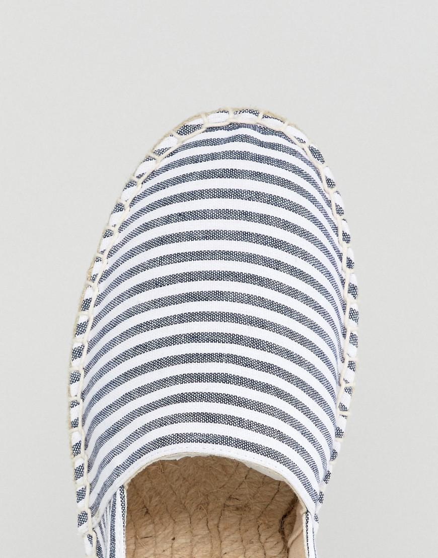 12667a548f04 Asos Design Wide Fit Canvas Espadrilles In Navy And Blue Stripe 2 ...