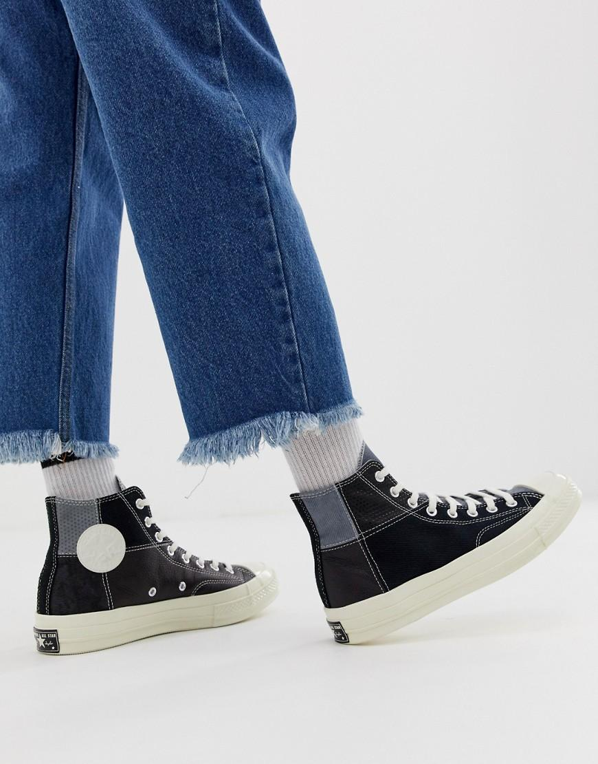 90a7f46dd4c9 Lyst - Converse Chuck 70 Patchwork Plimsolls in Black for Men - Save 40%