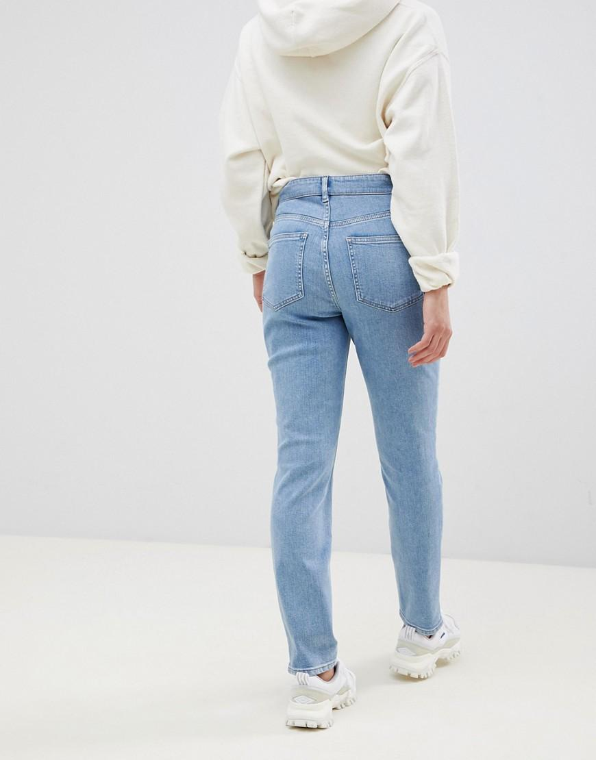 3b589916a5118 Lyst - ASOS Asos Design Maternity Kimmi Boyfriend Jeans In Mid Wash Blue  With Vertical Seam Detail With Over Bump Waistband in Blue