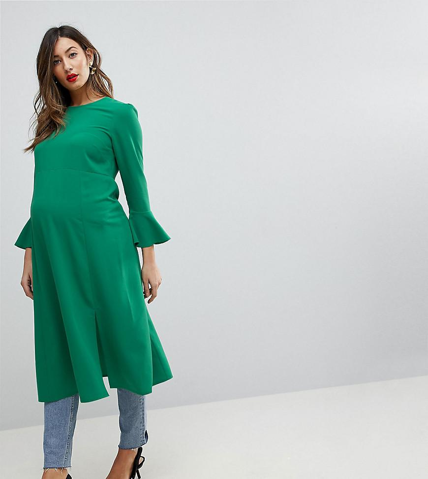 Fluted Sleeve Midi Dress with Split - Green Asos NvG0o