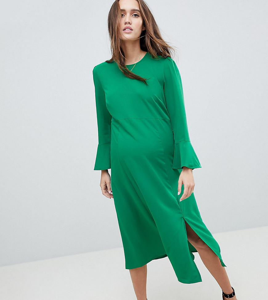 2e2cc2802855 ASOS Fluted Sleeve Midi Dress With Split in Green - Lyst