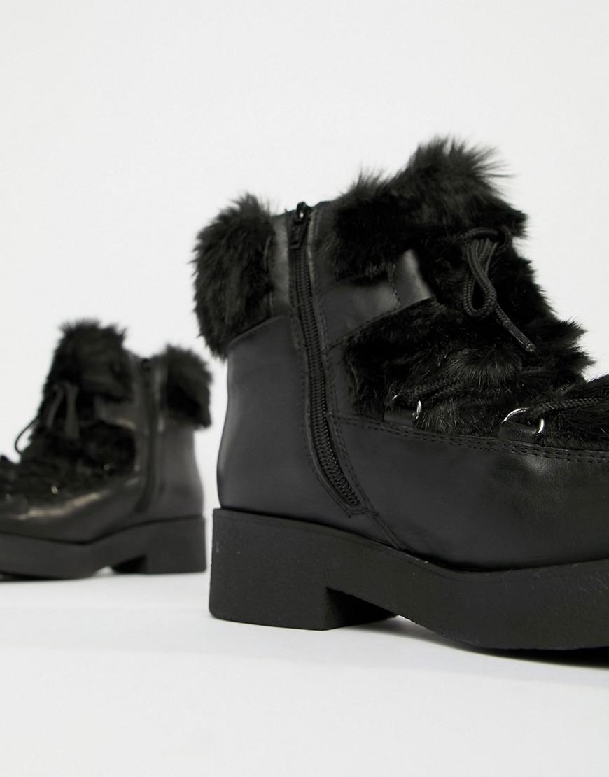 dc85b6139c98 ALDO Chunky Faux Fur Leather Ankle Boots in Black - Lyst