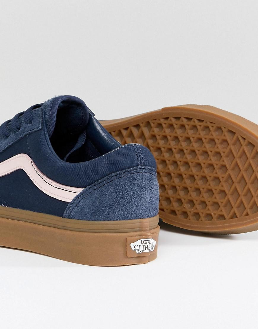 5afffc1899 Vans Old Skool Unisex Trainers In Blue Fuzzy Suede With Gum Sole in ...
