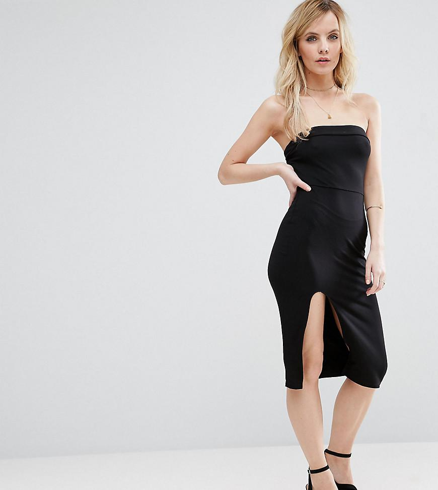 e9277cf4333d0 ASOS Strapless Midi Bodycon Dress With Curved Splits in Black - Lyst