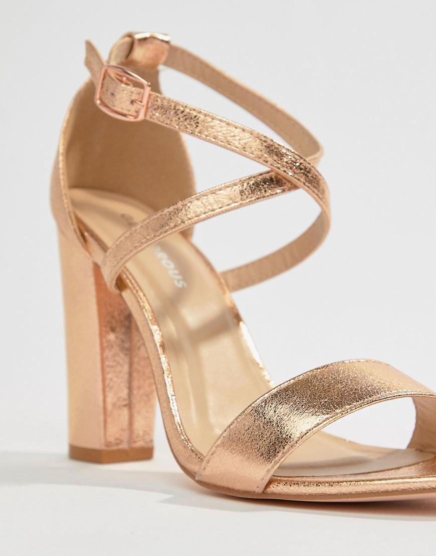 cd6959f876ec62 Glamorous Metallic Cross Strap Block Heel Sandals In Rose Gold in Metallic  - Lyst