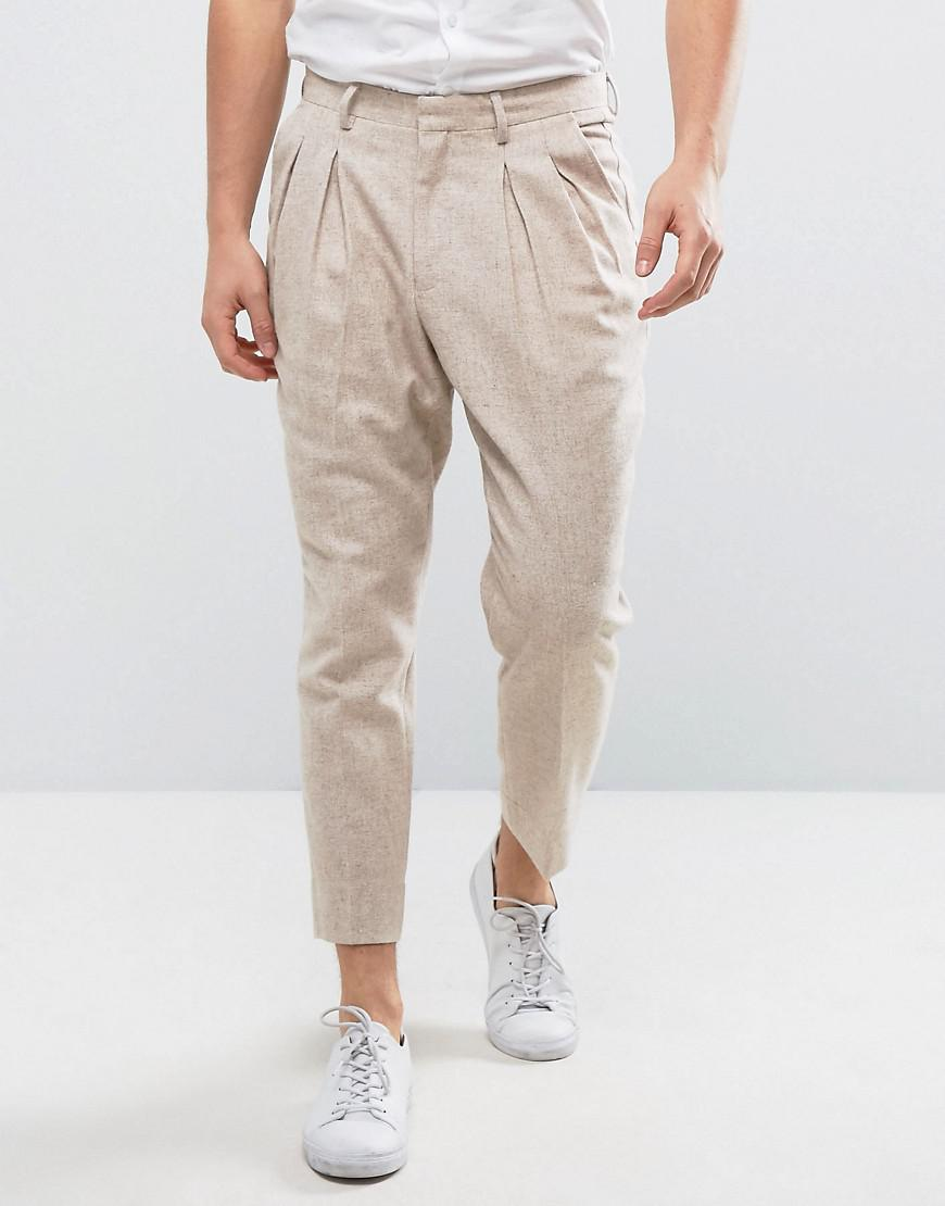 Tapered Smart Trousers In Oatmeal Texture - Oatmeal Asos 3J5d1AfX