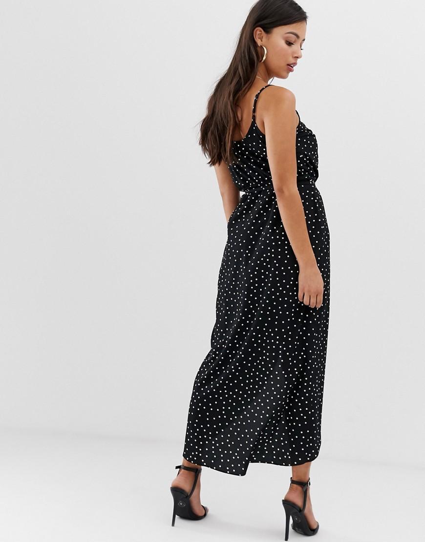 b7b69d25765 Lyst - ASOS Asos Design Petite Cami Wrap Maxi Dress In Polka Dot in Black