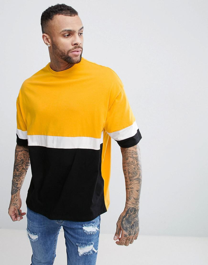 DESIGN longline t-shirt with colour block sleeves & embroidery - White Asos Sale Online Shop Wholesale Price For Sale Clearance Best Place Order Cheap Online Discount Get To Buy BLP6Ynfop