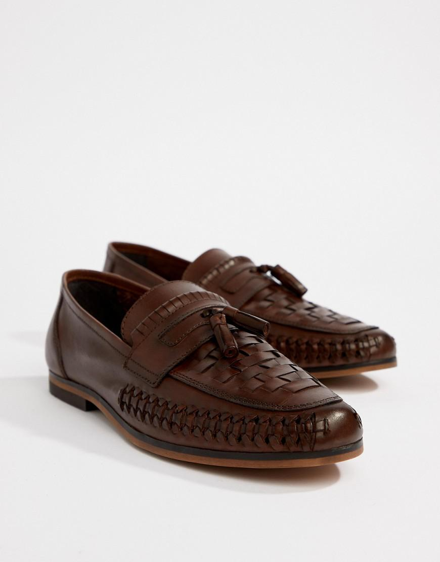 DESIGN Wide Fit Loafers In Woven Tan Leather With Tassel Detail - Tan Asos c3O1Ial