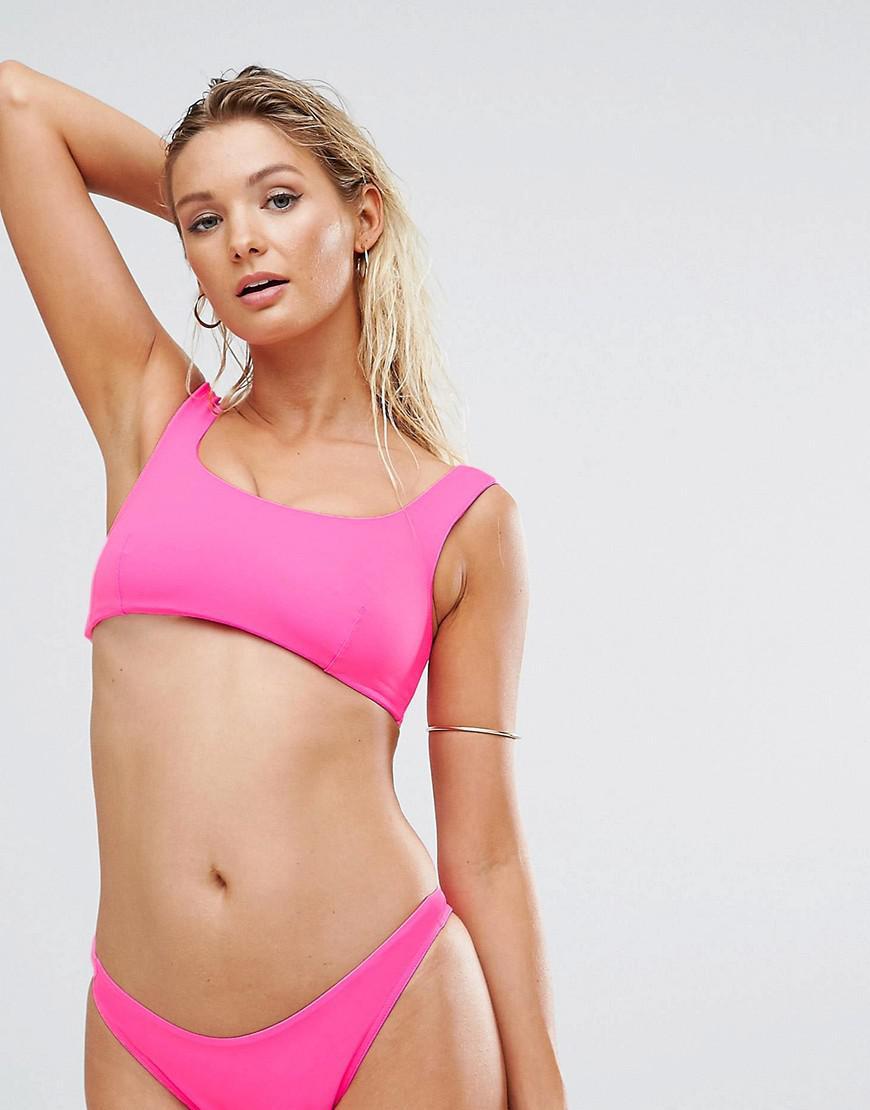 7b6ba2621e753 Lyst - ASOS Recycled Fuller Bust Minimal Supportive Crop Bikini Top ...