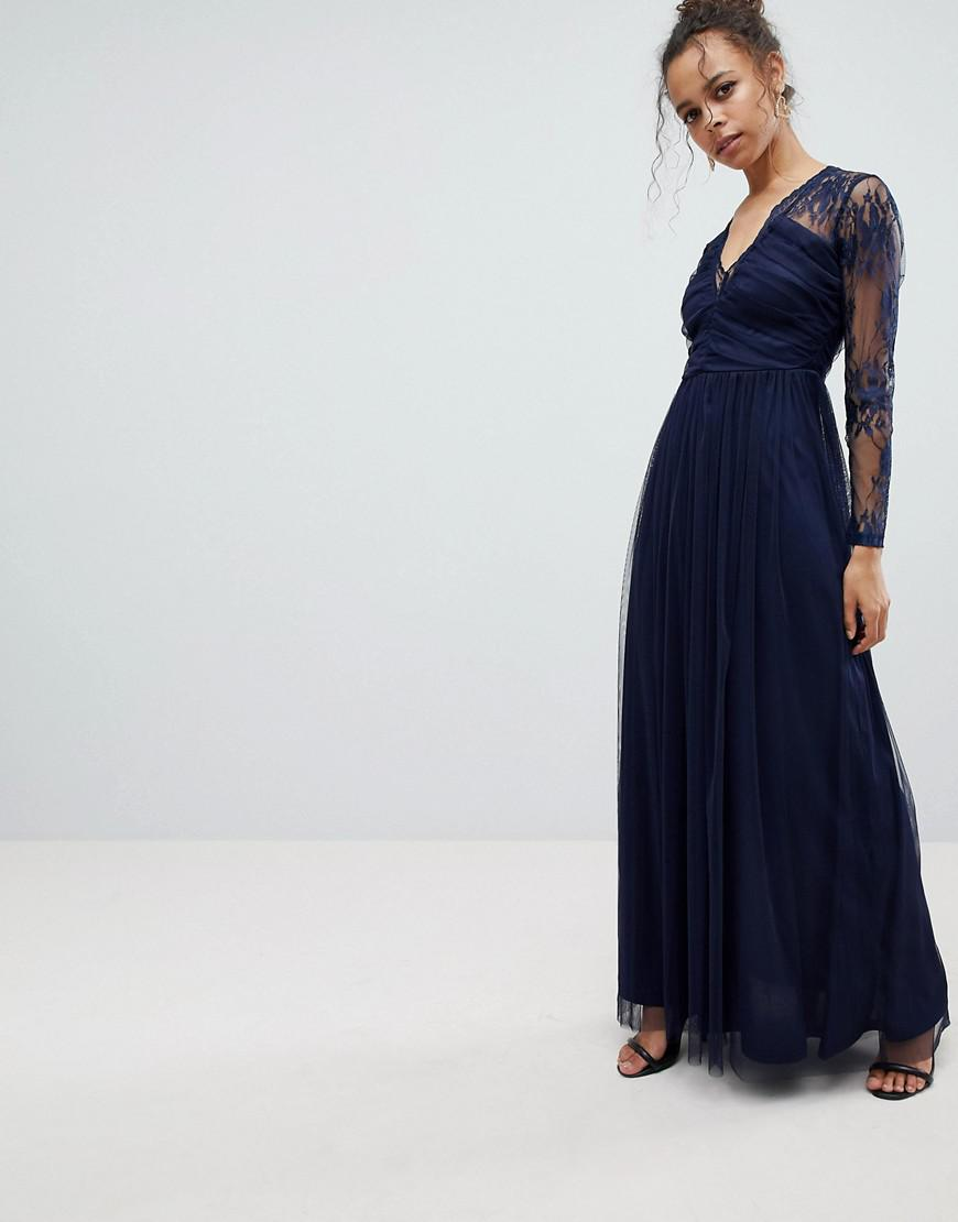 Lyst Asos Lace Maxi Dress With Long Sleeves In Blue Save 28
