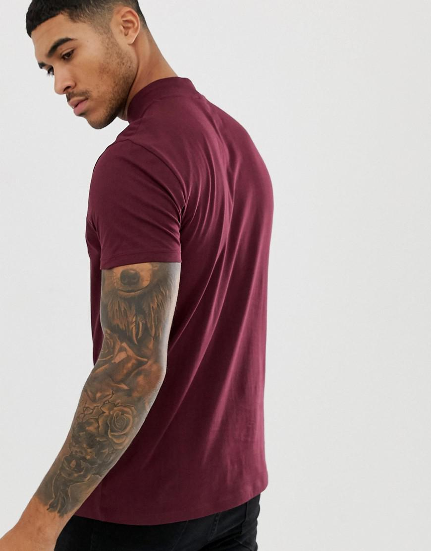 3401a18f ASOS T-shirt With Tonal French Slogan Print And Turtle Neck in Red for Men  - Lyst