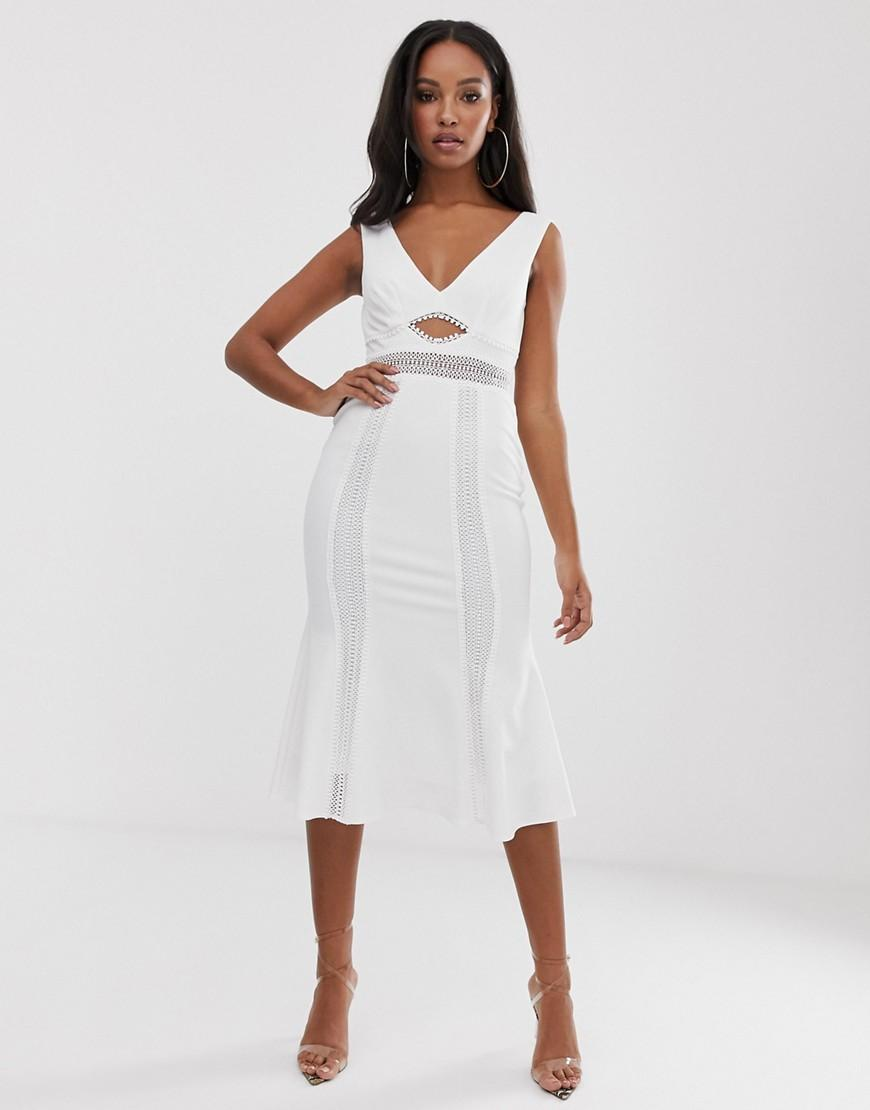 262a6d7c ASOS Lace Insert Cut Out Skater Midi Dress in White - Lyst