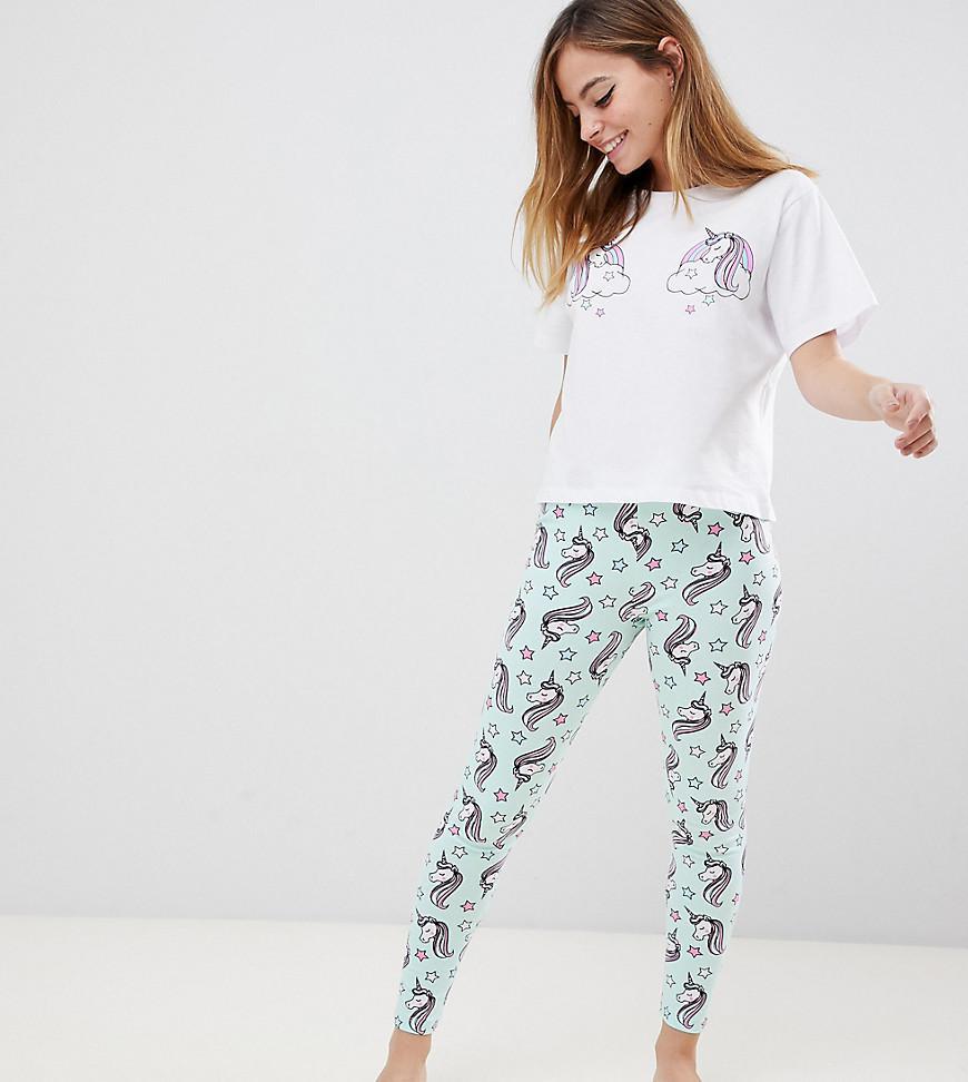 ASOS. Women s Asos Design Petite Unicorn Pyjama Tee   legging Set 38337b3e6