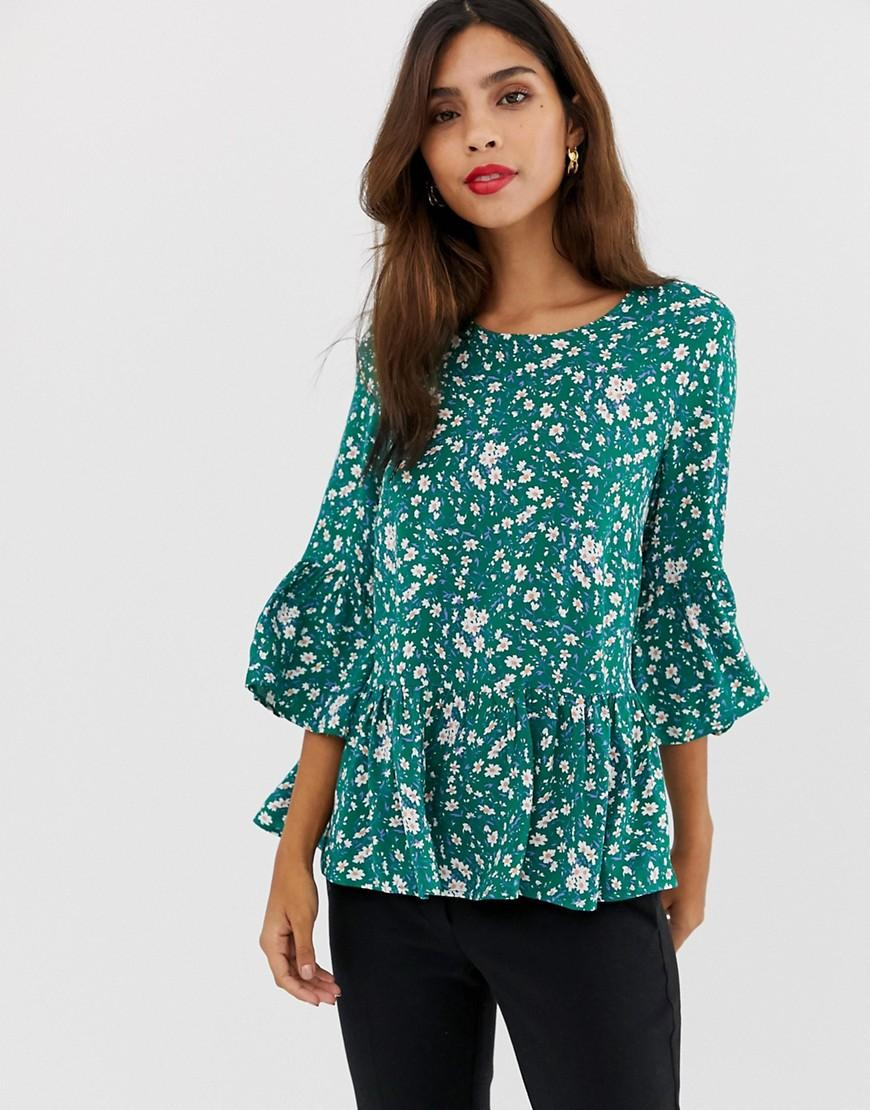 b03e6628714c07 Y.A.S Greenish Printed Peplum Top in Green - Lyst
